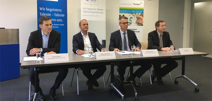 Baumer Electric AG und das Amt für Wirtschaft des Kantons Thurgau ziehen Bilanz zur Stellenmeldepflicht. (Bild:RADIO TOP/Raphael Wallimann