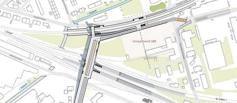 Das Projekt «Querung Grüze» soll die Verbindung zwischen Neuhegi und Grüze gewährleisten. (Visualisierung: Stadt Winterthur)