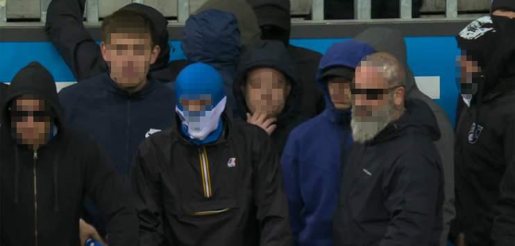 Der Anführer der GC-Hooligans mit tätowiertem Kopf ist seit dem Spielabbruch vom Sonntag auf Tauchstation. (Screenshot: Teleclub)