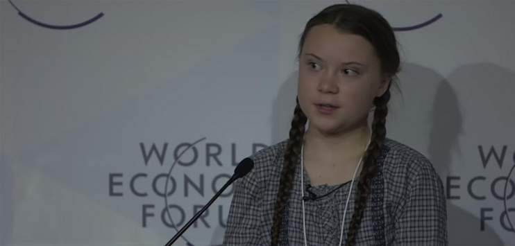 Greta Thunberg bei ihrer Rede am WEF. (Screenshot:youtube.com/ World Economic Forum)