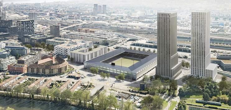 So soll das neue Fussballstadion auf dem Hardturm-Areal aussehen (Bild: Stadt Zürich)