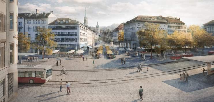 Die Stadt St.Gallen sagt Ja zur Neugestaltung des Marktplatzes. (Visualisierung: stadtsg.ch)