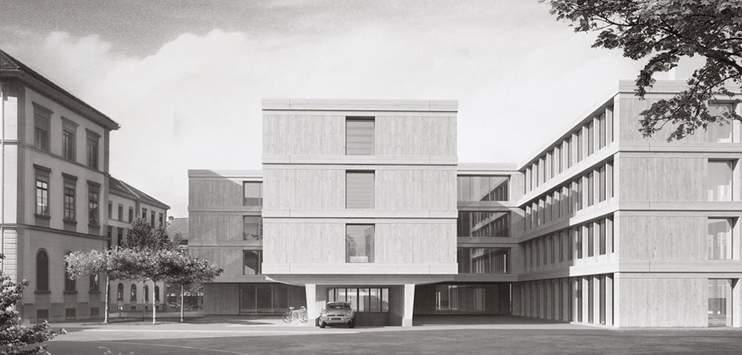 Der Erweiterungsbau aus Holz soll Platz für fast 300 Arbeitsplätze bieten. (Visualisierung: Kanton Thurgau)