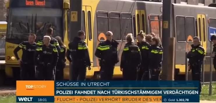 Am Montag hatte der Täter in einer Strassenbahn in Utrecht um sich geschossen und dabei drei Personen getötet. (Bild: Screenshot Welt)