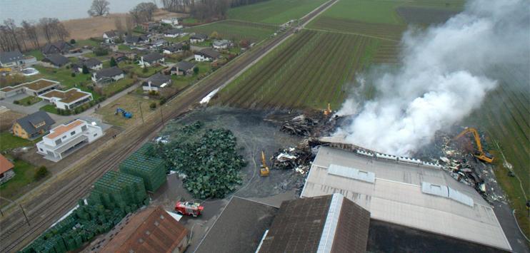 Die Tobi Seeobst AG in Egnach am Tag nach dem Grossbrand. (Bild: brknews.ch/Beat Kälin)