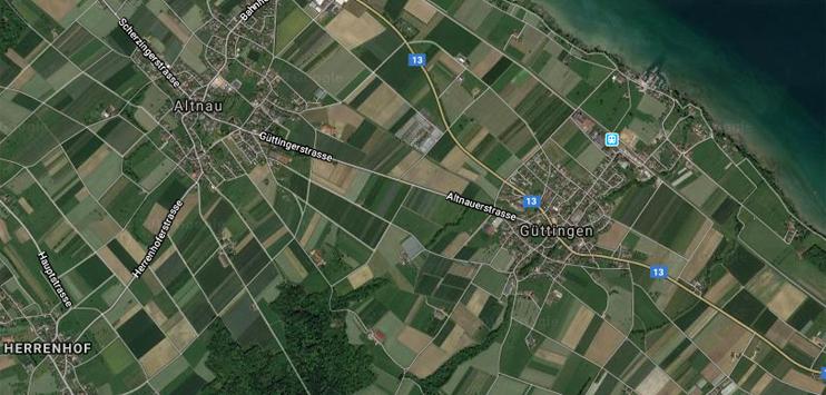 Beim Unfall in Güttingen ist ein Töfffahrer verletzt worden (Bild: Screenshot Google Maps)