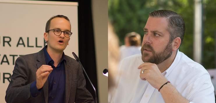 Thomas Vogel und Martin Neukom gehen am letzten Tag vor den Wahlen auf der Strasse auf Stimmenfang (Bild: martin-neukom.ch/Sylvie F. Matter; thomas-vogel.fdp-zh.ch)